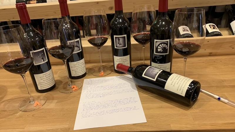 Wir verkosten die SIngle Vineyard Series 2017 von Two Hands mit unserem Team im CB Weinhandel