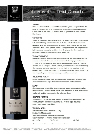 Maxwell Wines Four Roads Old Vine Grenache 2014